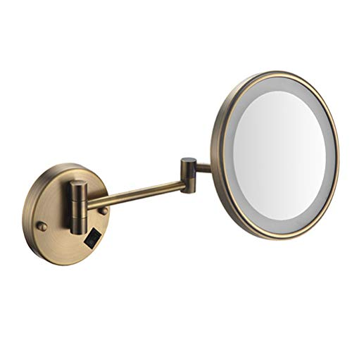 Makeup Mirror LED Double-Sided 8 Inch 3 Times Magnification Round Mirror Hotel -