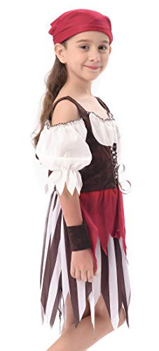 IKALI Baby Toddler Girl Pirate High Seas Buccaneer Costume Party Decoration Toy Kids Pretend Play Pirate Fancy Dress (6-8Y) by IKALI (Image #4)