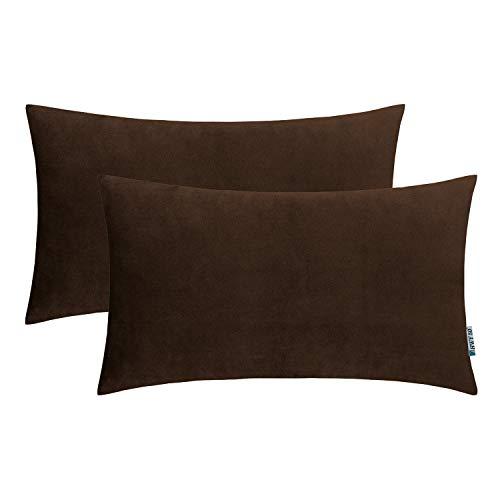 HWY 50 Velvet Soft Soild Decorative Throw Pillows Covers Set Cushion Cases for Couch Sofa Living Room Rectangular 12 x 20 inch Coffee Pack of - Velvet Cushion Brown