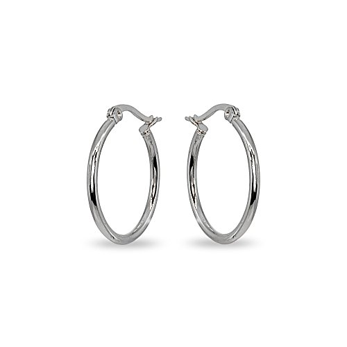 Stainless Steel 2x25mm Small Round Hoop Earrings for Women Girls, 1 Inch (Mm Hoop 25 Round)
