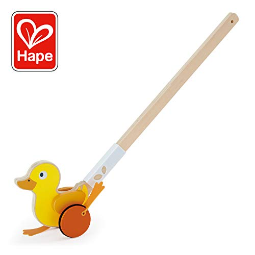 Duck Wooden Push Toy - Hape Ducky Push Pal| Wooden Push-Along Ducky, Baby Walker Push Toy