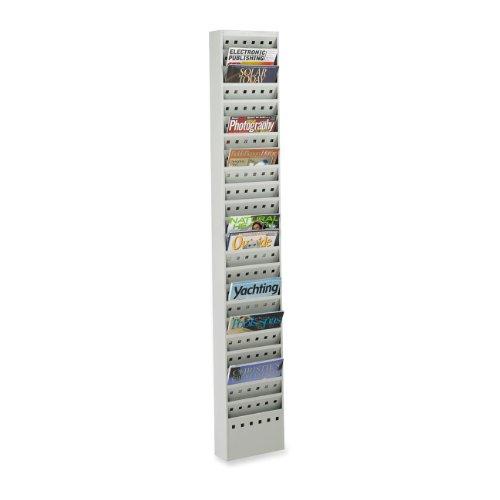 SAFCO Steel Magazine Racks, 23 Pockets, 10 x 4 x 65 1/2, Gray (Case of 2) ()