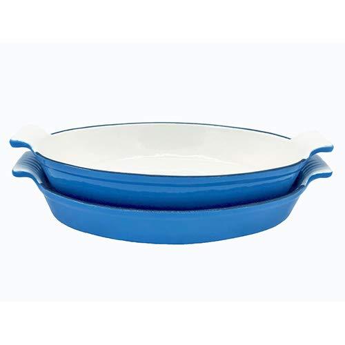 Le Chef 2 Piece Enamel Cast Iron Blue Oval Roasting Dish Set