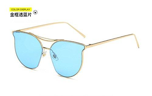 metal gafas de marea retro LSHGYJ Unidos y los Europa Estados de de Gold sol gafas gafas moda GLSYJ reflexivo sol through blue frame señoras brillante personalidad color PfqTPv