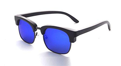 Retro Vintage Wood Eyeglasses Half- Frames Polarized Wooden Sunglasses with Bamboo Case- Z6089(ebony, sky blue)