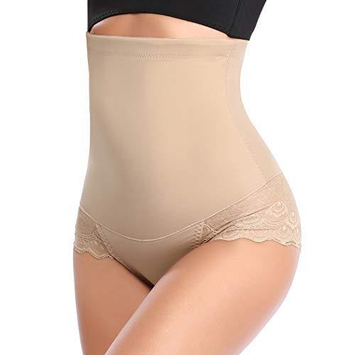 Women Butt Lifter Body Shaper Tummy Control Panty Seamless High Waist Trainer Shapewear (Beige-Lace, XL)