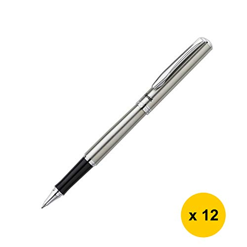 Sterling K600 0.7mm Gel Roller Pen (12pcs) - Silver/Black Ink (with Sticky Notes) [PenteI]