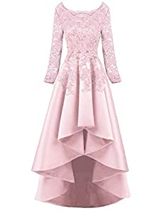 NOVIA Long Sleeves Prom Party Dresses High Low Lace Beaded Evening Formal Gown N51