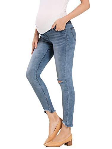 Foucome Women's Maternity Low-Rise Skinny Ankle Jeans Ripped Denim Pants (Dark Blue, L)