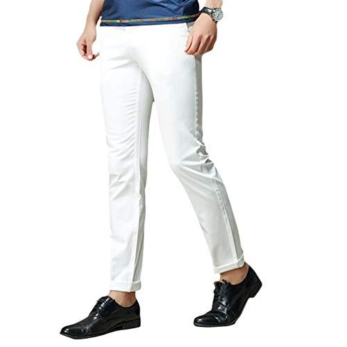 Alta Chinos Color Pantalones Cargo color Casuales Size Cintura De Hombres 38 Slim Blanco Sólido Basicas Skinny Fit Cómodo wOOqP0CUx