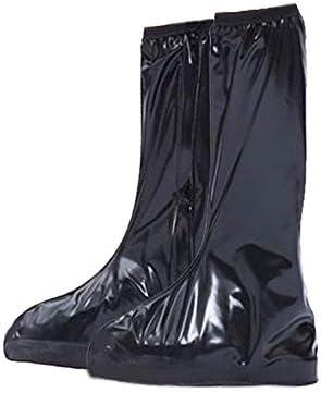 シューズカバー 防水ブーツ雨靴スリップ靴のレギンス再利用可能なウォッシャブルスノーシュー3色 通勤 通学 自転車用 (Color : Black, Size : Small)