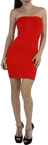 ToBeInStyle Women's Microfiber Seamless Strapless Stretchy Mini Tube Slip Dress - Red - One Size