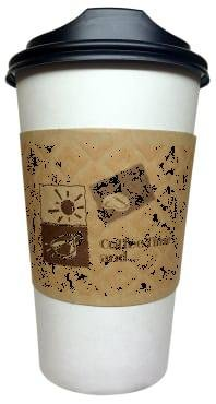 16 Oz. White Hot paper Coffee Cups With Lids And Sleeves -De