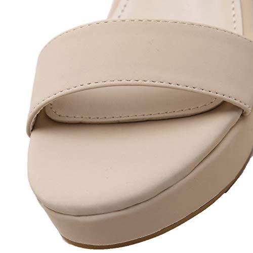 Talon Femme Unie Sandales à Abricot AgooLar d'orteil Boucle Haut GMBLB015062 Ouverture Couleur xdEqxI