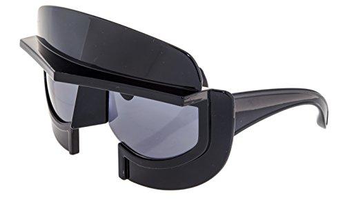 e6ea9621d856 LINDA FARROW KTZ Star Wars Oversized Mask Shiny Black KTZ11 Sunglasses