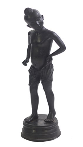 Standing Frog Fountain - World of American Home Decor Warehouse Standing Oriental Scholar Man Boy Bronze Statue, 7 by 7 by 25.5-Inch