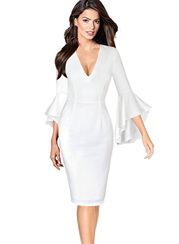 VFSHOW Womens Deep V Neck Ruffle Bell Sleeve Cocktail Party Sheath Pencil Dress 2282 WHT 3XL ()