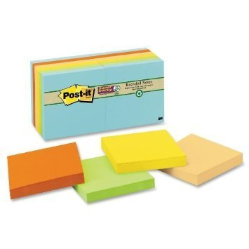 Post-it Notes, Super Sticky Pad, 3 Inches x 3 Inches, Recycled, Assorted Nature's Hues Colors, 12 Pads per Pack (colors - Hues Super Sticky Notes
