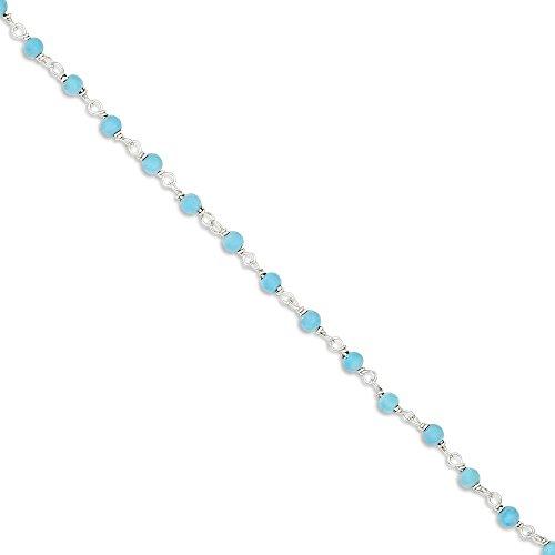 ICE CARATS 925 Sterling Silver Blue Turquoise Bead Bracelet 7.50 Inch Gemstone Fancy Fine Jewelry Gift Set For Women Heart