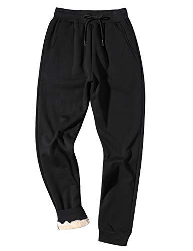 Gihuo Men's Winter Fleece Pants Sherpa Lined Sweatpants Active Running Jogger Pants (Black, Large) (Fuzzy Sweatpants Men)