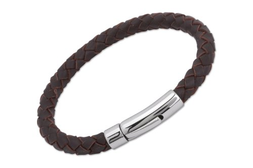Unique & Co. Men's 21cm Dark Brown Leather Bracelet with Stainless Steel...