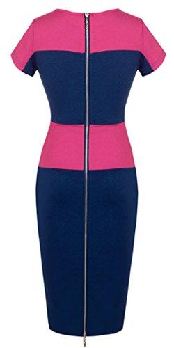 HOMEYEE - Vestido - Bloque Voguish en color de cuello redondo para mujer 463 Rosa