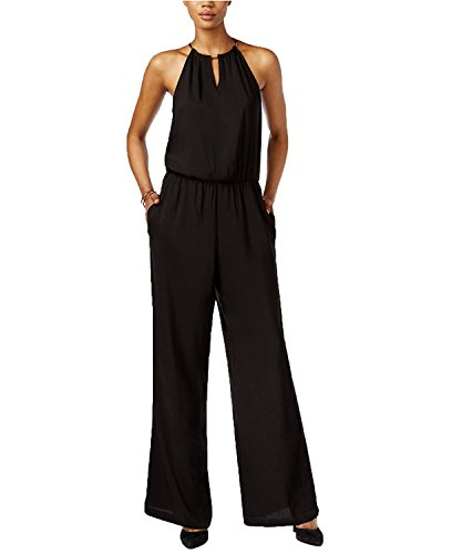 Halter Top Jumpsuit - Bar III Women's Halter-Top Wide-Leg Jumpsuit (X-Large, Deep Black)