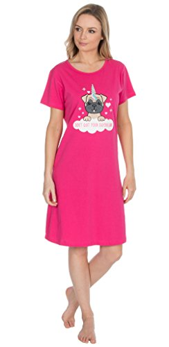 jersey notte Camicia manica camicie Deals Direct da da Best notte DIVERTENTE corta MOTIVI camicia notte womensladies notte Carlino Rosa da camicia Acceso xw8WWZ