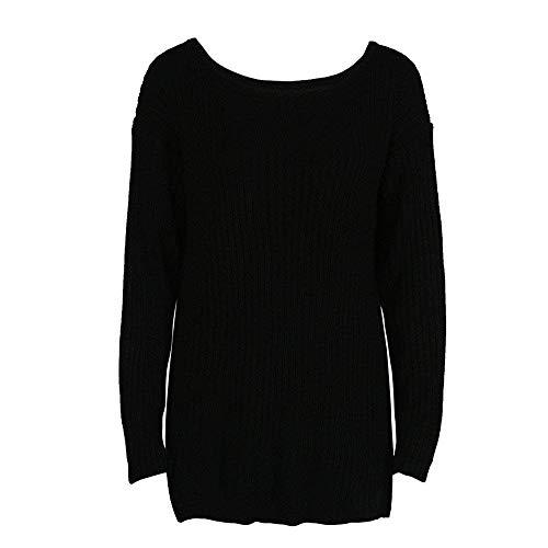 Otoño cn Moda Señoras Negro Blusa Mujer 42 Tamaño Manga Pullover Negro Ropa Eu De Invierno Casual Tops Color Sudadera color xl Sólido Suelto Punto Larga qB8Ft
