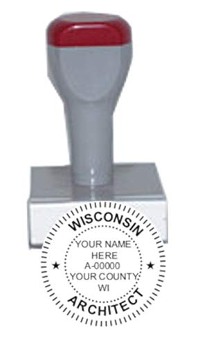 (HUBCO Standard Professional Architect Seal Hand Stamp (1.75-inch Image Size) | Wisconsin)