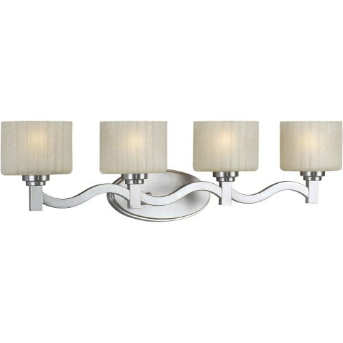 Forte Lighting 5388-04-55 Transitional 4 Light Vanity Fixture, Brushed Nickel Finish with Umber Linen Glass