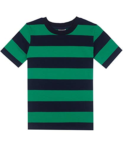 Spring&Gege Boys' Short Sleeve Striped T-Shirt Cotton Crew Neck Tees, Green and Navy Stripes, 9-10 Years