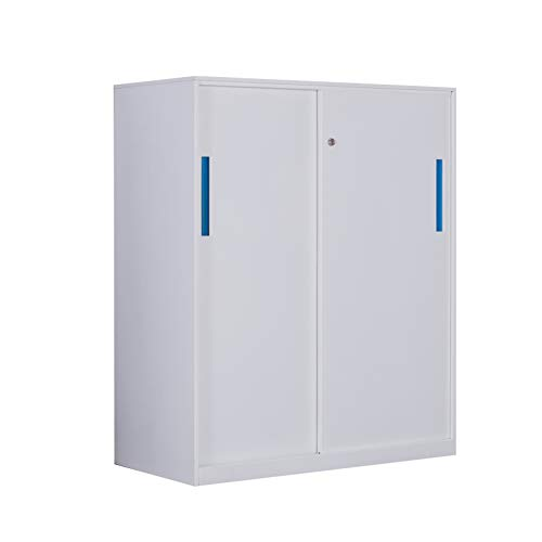 (Small Size Sliding Door Metal File Cabinet with Two Layer Inside,Half Height Metal Office Cabinet with Replacement Lock and Keys White Color)