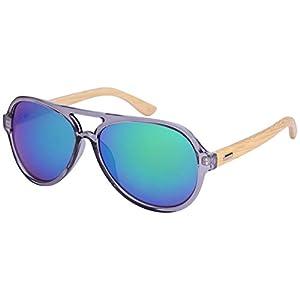 "Edge I-Wear Retro Aviators Bamboo Wood Sunglasses Color Full Mirrored Lens by""Treez"" w/Fiber Case M540917BM-REV-3(CLGY/gnrev)"