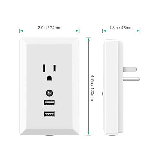 SODIAL USB Conversion Plug with Night Light 2.4A Fast Charge Smart USB Socket(us Plug)