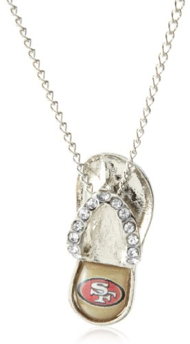Flops Necklace Pendant - aminco NFL San Francisco 49ers Crystal Flip Flop Necklace