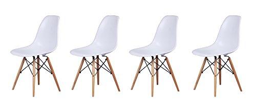 GIA B01M6E2C9G Armless Plastic Chair, 4-Pack, White, Beech Legs