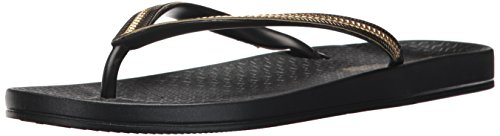 Ipanema Women's Ana Metallic Ii Flip Flop, Black/Gold, 9 M US