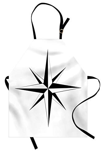 Lunarable Vintage Nautical Tattoo Apron, Simplistic Illustration of a Windrose Maritime Themed Star Print, Unisex Kitchen Bib with Adjustable Neck for Cooking Gardening, Adult Size, Black White