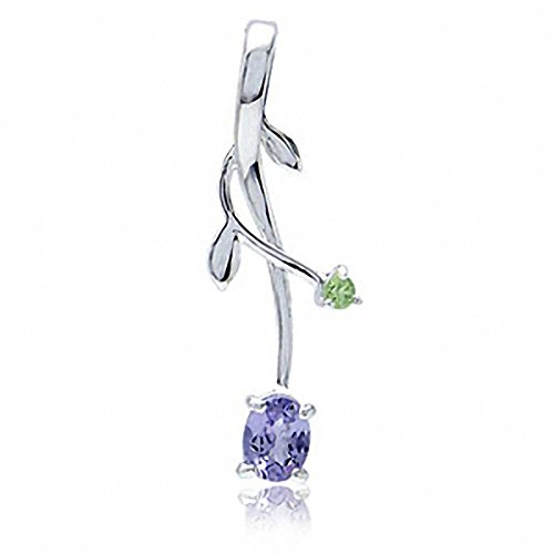 Genuine Tanzanite & Peridot 925 Sterling Silver Vine Leaf Pendant