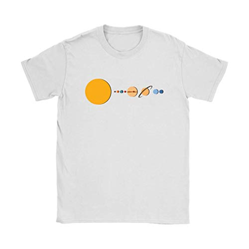 Solar System | Minimalistic Design Sun, Planets and Earth Tshirt for Women White ()