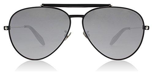 Alexander McQueen AM0057S 001 Black AM0057S Aviator Sunglasses Lens Category - Mcqueen Aviators Alexander