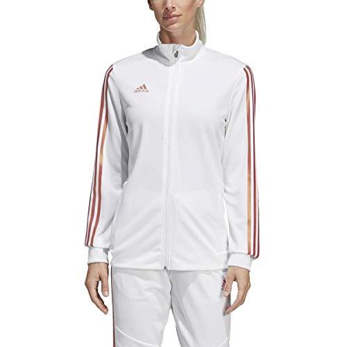 adidas Women's Alphaskin Tiro Training Jacket, White/Nude Pearl Essence, Medium (Adidas 3 Stripes Zip Through Hoody Mens)