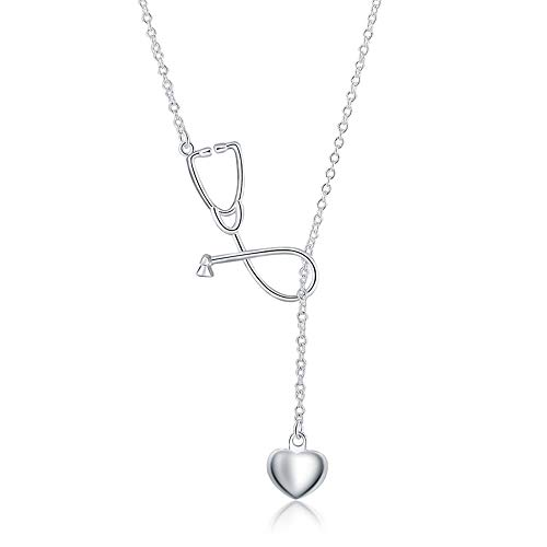 Goldenchen Fashion Jewelry 925 Sterling Silver Stethoscope Lariat Necklace,Heart and Stethoscope Pendant Doctor Nurse Jewelry Gift ()