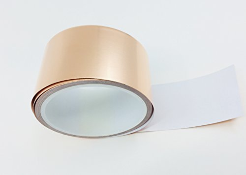 Copper Foil Tape - Conductive Adhesive for EMI & RFI Magnetic Shielding on Guitars | Arts, Crafts & Stained Glass Supplies | 2 in x 21 Feet - Teegan Tapes