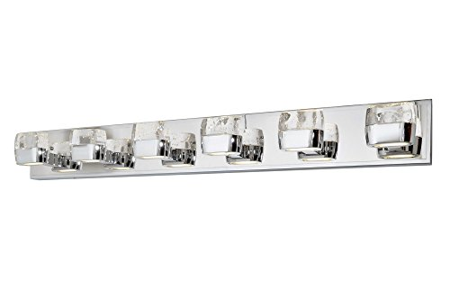 ET2 E22896-89PC Volt LED 12-Light Bath Vanity, Polished Chrome Finish, Etched/Bubble Glass, PCB LED Bulb, 75W Max., Dry Safety Rated, 2700K Color Temp., Acrylic Shade Material, 910 Rated -