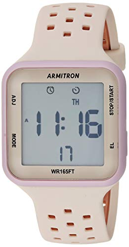 Armitron Sport Unisex 40/8417LBH Lilac Purple Accented Digital Chronograph Blush Pink and Tan Perforated Silicone Strap Watch