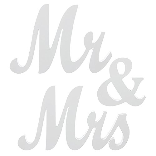 Ling's moment White Mr & Mrs Letters Sign - Vintage Style Wooden DIY Decor for Wedding Decoration Table Decor, Exquisite Wooden Freestanding Letters (Wood Vintage Sign)