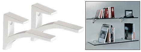Aluminum Glass Shelf - CRL White - Aluminum Glass Shelf Bracket for 3/8
