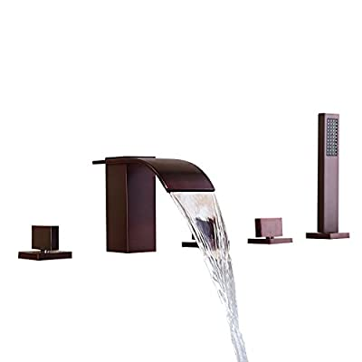 Lovedima Brushed Nickel Widespread Waterfall Roman Tub Filler Faucet with Handheld Shower